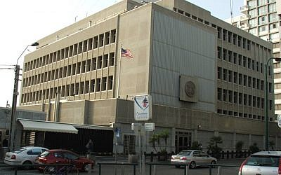 The US Embassy in Tel Aviv (photo credit: CC BY-Krokodyl/Wikimedia Commons/File)
