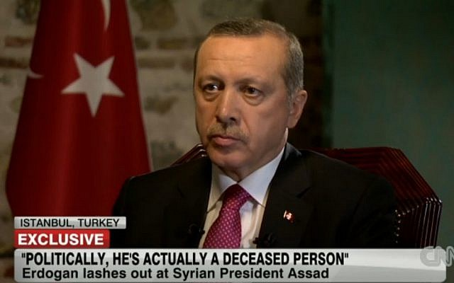 Turkish Prime Minister Recep Tayyip Erdoğan. (photo credit: Image capture from CNN interview)
