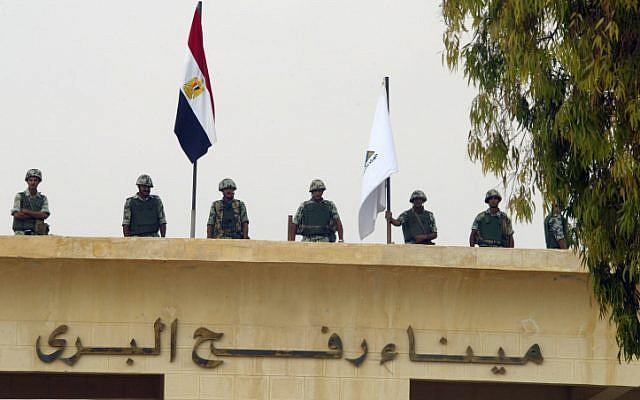 Egyptian forces deployed along the border between Gaza and Egypt (photo credit: Abed Rahim Khatib/Flash90)