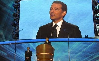 Rabbi David Wolpe gives a benediction to conclude activities at the Democratic National Convention in Charlotte, N.C., Sept. 5, 2012. (Ron Kampeas/JTA)