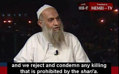 Muhammad al-Zawahiri in an interview to Al-Jazeera (image capture: Memtitv.org)