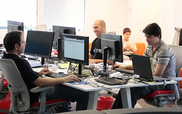 Start-up workers at a Herzliya accelerator (Photo credit: Courtesy)