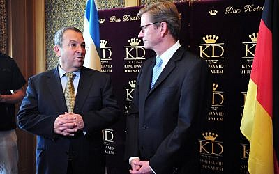 Defense Minister Ehud Barak hosts German Foreign Minister Guido Westerwelle in Jerusalem earlier this month (photo credit: Ariel Hermoni, Ministry of Defense)