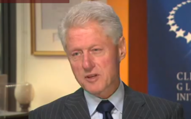 Former US president Bill Clinton spoke to CNN's Fareed Zakaria about the Israeli-Palestinian conflict, among other topics, Sunday (photo credit: screen capture, YouTube)