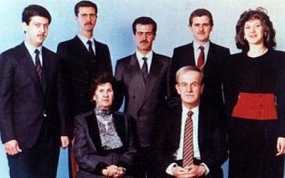 Bushra Assad (far right) pictured with the Assad family in 1994 (photo credit: Wikipedia commons)
