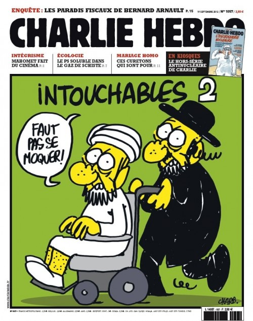 The cover of Charlie Hebdo's Thursday issue, depicting an ultra-Orthodox man pushing a wheelchair-bound Muslim