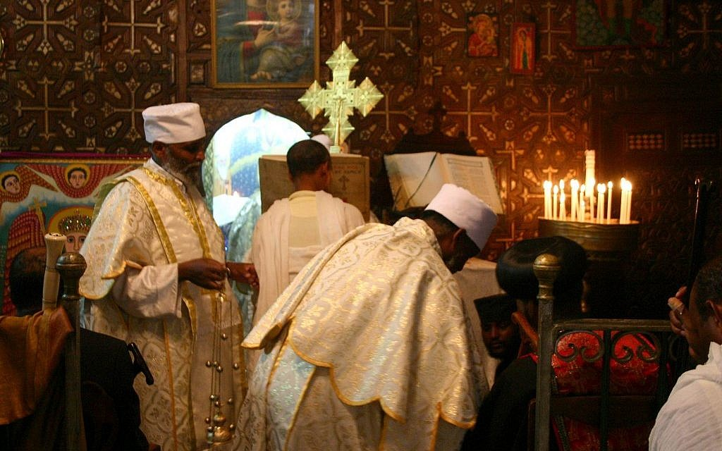 Ethiopian clergy at the Church of the Holy Sepulcher (photo credit: Shmuel Bar-Am)