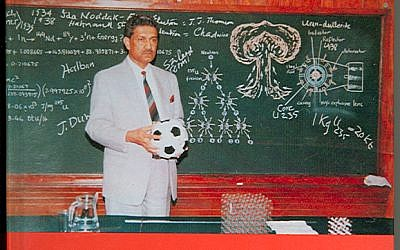 The book, Dr. A. Q. Khan on Science and Education, shows Khan standing in front of a green chalkboard with his design for a multipoint nuclear-bomb trigger featuring a neutron initiator distinctly labeled in the middle of the warhead. (photo credit: Courtesy)