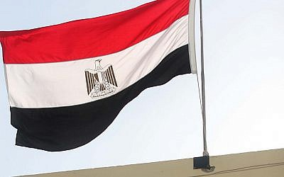The Egyptian flag flies from the Egyptian embassy in Tel Aviv (photo credit: Gideon Markowicz/Flash90)