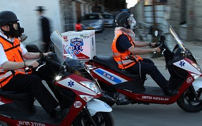 Illustrative photo of volunteer paramedics with United Hatzolah (photo credit: Nati Shohat/Flash90)