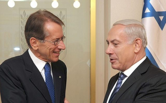Israeli PM Benyamin Netanyahu and Italian Foreign Minister Giulio Terzi in Jerusalem on September 05, 2012. (photo credit: Moshe Milner/ GPO/Flash90)