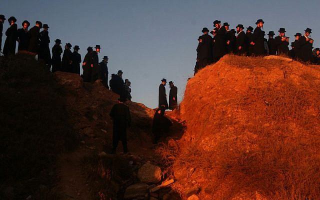 Members of the Vishnitz Hassidic sect perform the 'tashlich' ceremony by the sea in Herzliya on September 24, 2012 (photo credit: Roni Schutzer/Flash90)