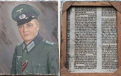 The painting of Alfred Mayer. On the right is a view of the back of the painting -- a section of Torah scroll. (photo credit: courtesy)