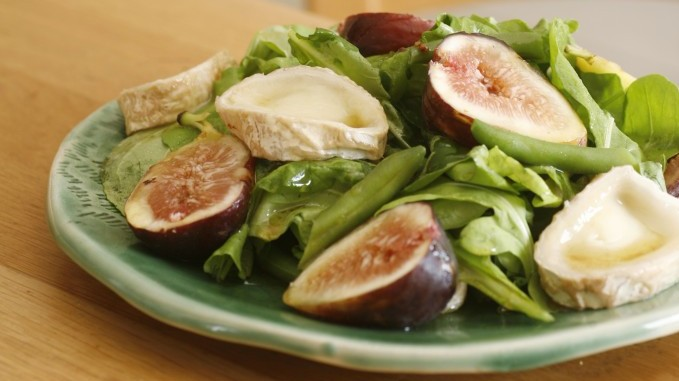 The greens, browns and pinks of a fig and goat cheese salad) (Courtesy Phyllis Glazer/photo credit: Dania Wiener)