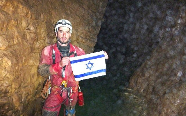 Boaz Langford of the Israeli cave exploration delegation at a depth of 2,080 meters in the Krubera-Voronya cave in Abkhazia (Photo: courtesy of Hebrew University)