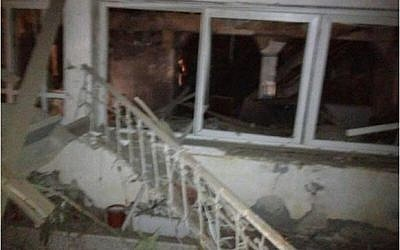 Netivot home destroyed by Grad rocket fired from Gaza, Sunday, Sept. 9 (photo credit: IDF Spokesman's Office)