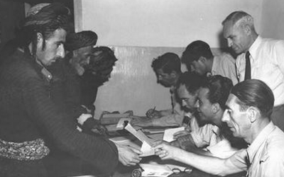 Registration of Jewish immigrants from Iraq at Lod Airport, May 1951 (photo credit: GPO)