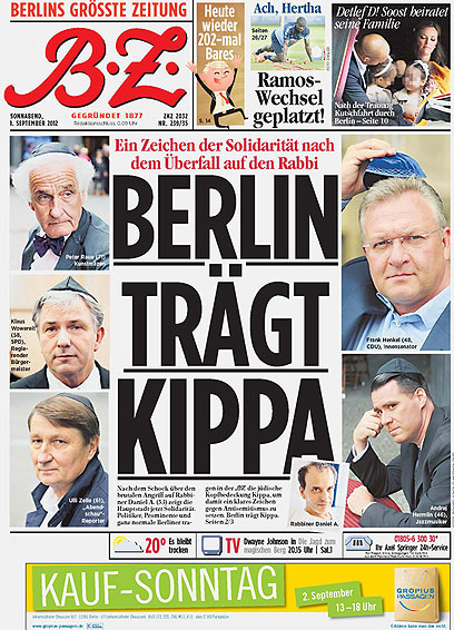 'Berlin wears kippah' the city's largest daily proclaimedlast year, in solidarity with a rabbi who was beaten up on the streets of Berlin(photo credit: courtesy B.Z.)