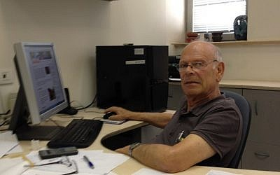 Professor Uzi Even at his Tel Aviv University office (Photo credit: Mitch Ginsburg/ Times of Israel)