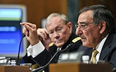 Defense Secretary Leon Panetta, foreground, and Joint Chiefs of Staff head Martin Dempsey speaking to a Congressional hearing in 2012. (photo credit: Department of Defense/Glenn Fawcett)