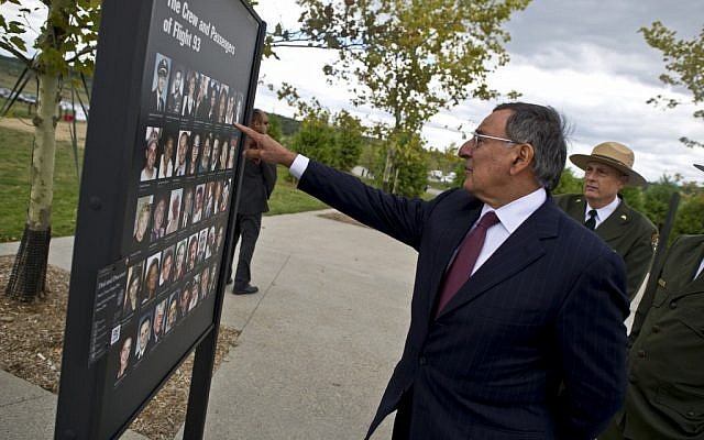 Leon Panetta visiting the site of the September 11, 2001, Flight 93 crash in Shanksville, Pennsylvania, on Monday. (photo credit: Department of Defense/Chad J. McNeeley)