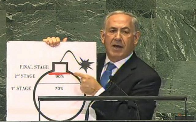 Netanyahu's nuclear diagram, presented at the UN General Assembly in September 2012. (photo credit: IBA screenshot)