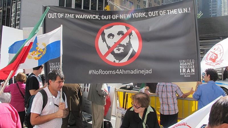 a united against nuclear iran led protest against iranian president mahmoud ahmadinejad at the warwick