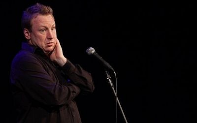 Bruce Bradley performs at Comedy for Koby (photo credit: Yissachar Ruas)