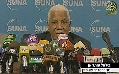 Sudanese Minister of Information Ahmed Belal Osman talks to reporters on Wednesday, October 24. (photo credit: image capture from Channel 2)