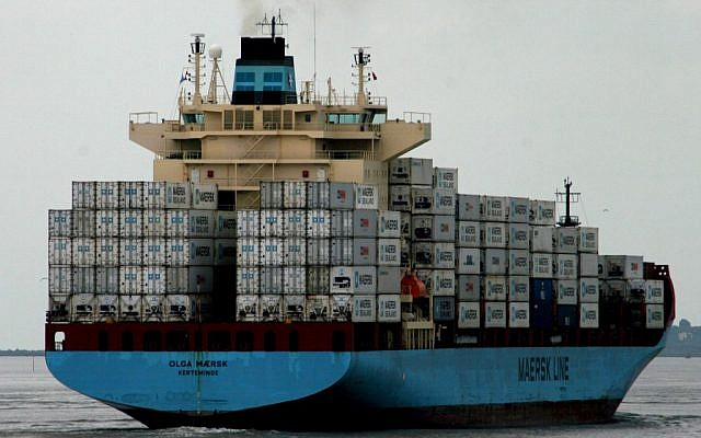 The container ship Olga Maersk, operated by A.P. Moller-Maersk Line of Denmark (photo credit: CC BY L2F1, Flickr)