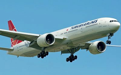 A Turkish Airlines flight (photo credit: CC BY-SA BriYYZ/Flickr/File)