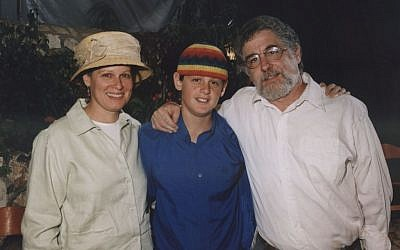 Seth and Sherri Mandell with Koby in the months before his death (photo credit: Courtesy the Mandell family)