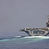 Illustrative: The guided-missile cruiser USS Cape St. George and the aircraft carrier USS Abraham Lincoln transit the Strait of Hormuz. (CC-BY SA 3.0/Official US Navy Imagery)