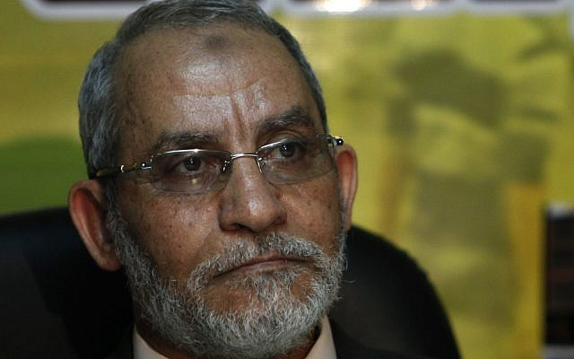 Muslim Brotherhood leader Mohammed Badie attends a press conference at the group's parliamentary office in Cairo in 2010. (AP/Nasser Nasser)