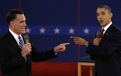 What led to such animosity? Obama and Romney face off on Tuesday night (photo credit: AP Photo/Charlie Neibergall)
