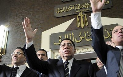 Egyptian Prosecutor General Abdel-Meguid Mahmoud addresses hundreds of supporters, judges, lawyers and media, not shown, in a downtown courthouse defying a presidential decision to remove him from his post, saying this infringes on the judiciary's independence, in Cairo. (photo credit: AP)