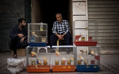 ASyrian street vendor sits in front of his birds in Shaar district in Aleppo on Sunday.  (AP Photo/ Manu Brabo)