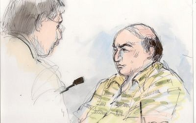 This September 27, 2012, file courtroom sketch shows Mark Basseley Youssef (right), talking with his attorney Steve Seiden in a hearing at the US District Court in Los Angeles (photo credit: AP Photo/Mona Shafer Edwards)