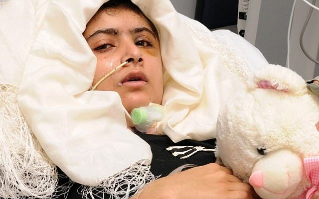 15-year old Pakistani shooting victim Malala Yousufzai, who is recovering in Queen Elizabeth Hospital in Birmingham, England, after being attacked and shot in the head by Taliban gunmen in Pakistan for advocating education for girls. Malala was shot and critically wounded on Oct. 9 as she headed home from school in the northwest Swat Valley, Pakistan. (photo credit: AP Photo / University Hospitals Birmingham NHS Foundation Trust)