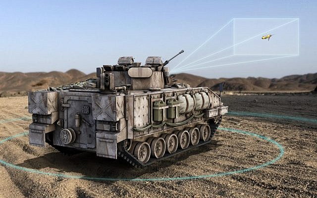 An illustration of a tank-based radar that could alert the soldiers inside to the type and location of incoming fire (Photo credit: Courtesy: RADA)