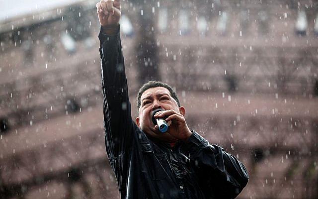 Venezuela's President Hugo Chavez delivers a speech during his closing campaign rally in Caracas, Venezuela, Thursday, Oct. 4, 2012. (photo credit: Rodrigo Abd/AP)