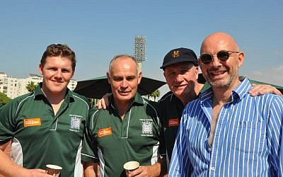 From left: Nick King, Crispin Blunt, John Emburey, and a Conservative party member, on the Lords and Commons Cricket Club tour of Israel (photo credit: Michal Shmulovich/ToI)