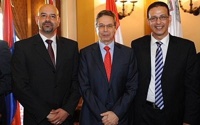 Deputy Foreign Minister Danny Ayalon poses with the new ambassadors of Jordan (left) and Egypt (right) at Jerusalem's King David Hotel, October 17 (photo credit: office of Danny Ayalon)
