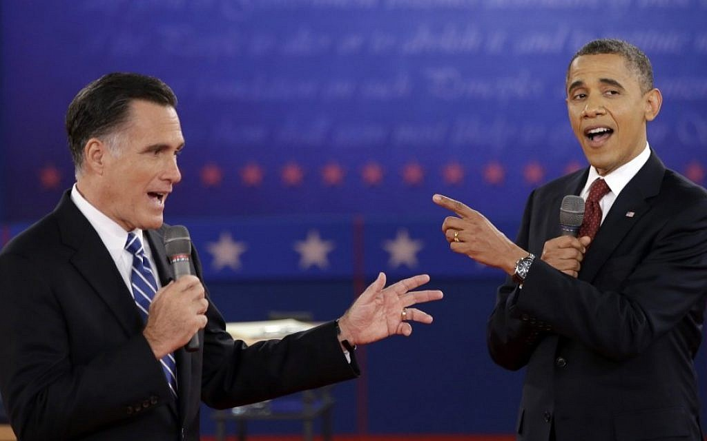 Republican presidential candidate Mitt Romney, left, and US President Barack Obama face off during the second presidential debate at Hofstra University in Hempstead, NY on October 16 (photo credit: AP/David Goldman)