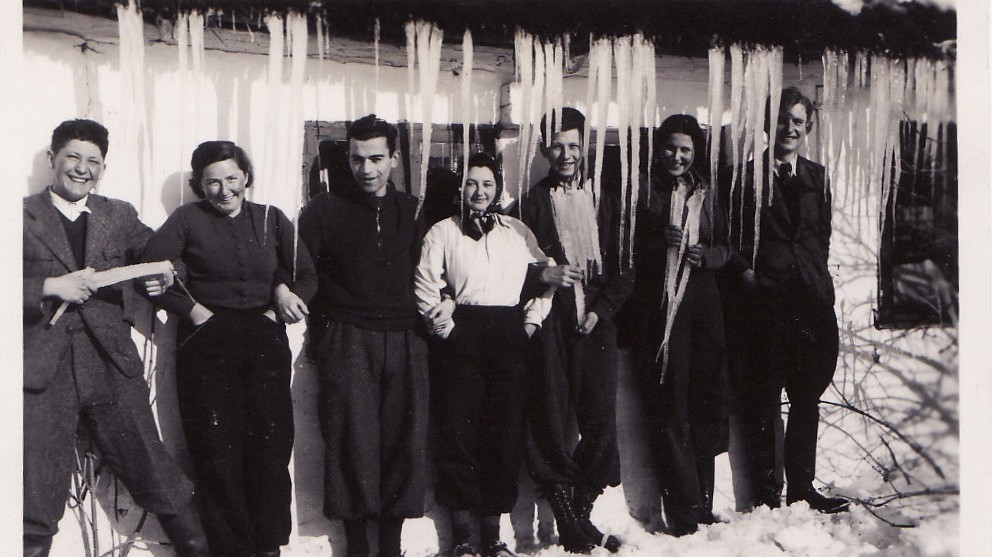 A few of the teenage Czech Jewish refugees enjoying the Danish winter in the early 1940s (photo credit: Courtesy, archive of Judita Matyasova)