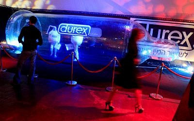 A Durex condom presentation stand at the country's first-ever sex festival in Tel Aviv in February 2008 (photo credit: Olivier Fitoussi/Flash90)
