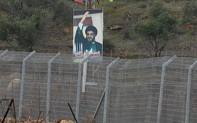 A photo of Nasrallah on the fence of the Lebanese border, 2008 (photo credit: Hamad Almakt/Flash 90)