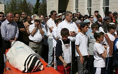 The funeral of Avraham David Moses, 16, of Efrat, one of eight students who were killed in the March 6, 2008, shooting attack at the Yeshivat Mercaz Harav in Jerusalem (photo credit: Anna Kaplan/Flash90)