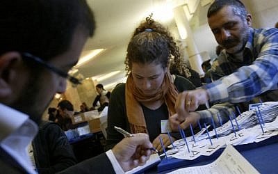 Counting ballots in the 2009 election. (photo credit: Olivier Fitoussi/Flash90)