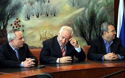 Finance Minster Yuval Steinitz, Prime Minister Benjamin Netanyahu, and Defense Minister Ehud Barak attend  a  meeting at the Knesset  in Jerusalem,  April,  2009. (photo credit: Atta Awisat/Yrdioth Aharonot/Flash 90)